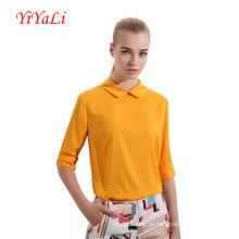 Frühling & Herbst Hälfte Ärmel Turn-Down-Kragen-Damen-Shirt