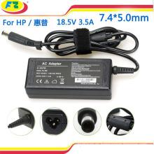 Cargador del adaptador de la energía de CA del ordenador portátil para el hp 18.5V 3.5A 65W 7.4 * 5.0mm made in china