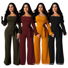 H99 wholesale fashion rib off shoulder long sleeve wide leg women 2020 casual jumpsuits and rompers