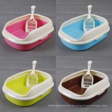 Plástico Fechar Grande Caixa de areia para gatos Bandeja sanitária