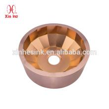 Stainless Steel handmade luxury pvd golden bronze round hand wash basin bar sink for hotel club use
