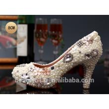 Chaussures en cristal dentelles femmes chaussures de mariage main-d'œuvre chaussures chaussures à talons hauts WS004