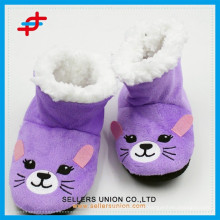 Embroidery Cute Animal Kids Indoor Slipper Boots for Winter