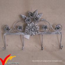 Flor, forma, vintage, metal, parede, casaco, ganchos