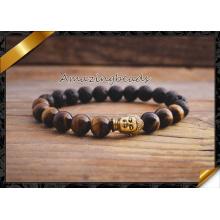 Gelbe Tigerauge Buddha Perlen Armbänder für Frauen Schmuck (CB038)