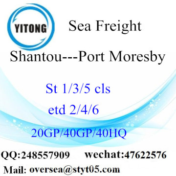 Shantou Port Sea Freight Shipping ke Port Moresby