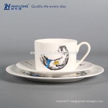 white animal design crockery plate and cup bone china dinnerset