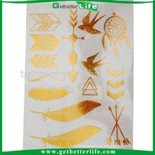 Personalizada tatuagem temporária da folha metálica ouro