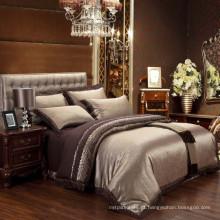 Luxury high-end poli-algodão Jacquard & bordados damasco cama roupa de cama set