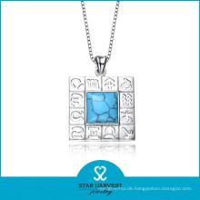 Echte Mode-Halbedelsteine Schmuck Silber Halskette (N-0109)