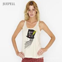 Fashion Girl Print Baumwolle aus Tür Tank Top