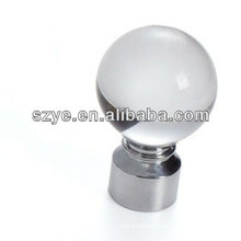 28mm glass ball wrought iron curtain rod finials in Nickel color