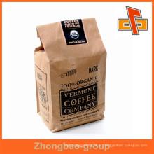 A venda quente material de empacotamento o papel de kraft do vendedor de China levanta sacos feitos sob encomenda do café com logotipo confidencial feito-à-medida