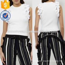 Ivory Knitted Ruffle Strims Sport Tank Top Manufacture Wholesale Fashion Women Apparel (TA4045B)