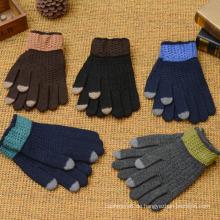 Man's Winter warme gestrickte Handschuhe voller Finger Großhandel