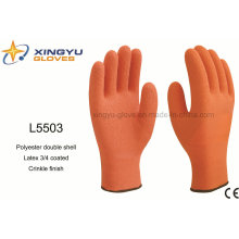 Polyester Double Shell Latex 3/4 Coated Crinkle Finish Safety Work Glove (L5503)