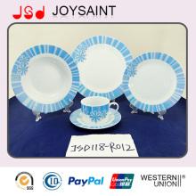Best Quality New Bone China Geschirr Set mit blauem Abziehbild (JSD118-R012)