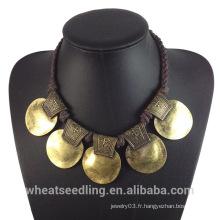 2015 Nouveau produit de design Vintage Vintage Gold Alloy Choker Necklace pour femmes Ladies