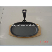 Cast Iron Sizzling Skillet fajita pan with wooden tray