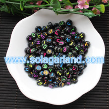 4x7mm Acrylic Black Coin Round Beads With Colorful Alphabet Letters