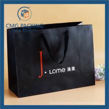 Luxury Black Paper Bag with Lattice Printing (DM-GPBB-068)