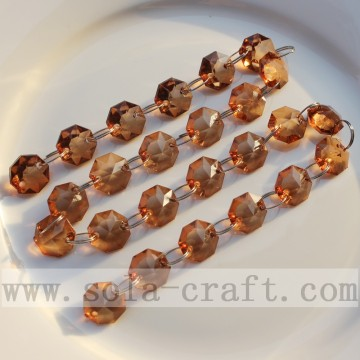 Brown Acrylic Faceted Octagon Beaded Hanging Spacer Curtain Chains