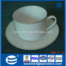 high quality super white 220cc porcelain tea and coffee cup and saucer with gold rim
