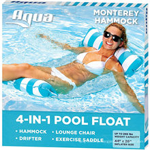 Aqua 4-in-1 Monterey Hammock Inflatable Pool Float, Multi-Purpose Pool Hammock (Saddle, Lounge Chair, Hammock, Drifter) Pool Chair
