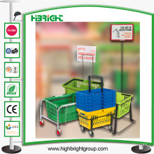 Metal Shopping Basket Stand with Wheels