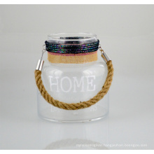 New Glass Candle Holder with Jute Rope Handle