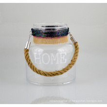 Novo suporte de vela de vidro com alça de corda de juta