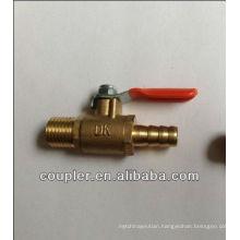 "Brass Miniball valve. 1/4"" NPT x 1/4"" Barb."