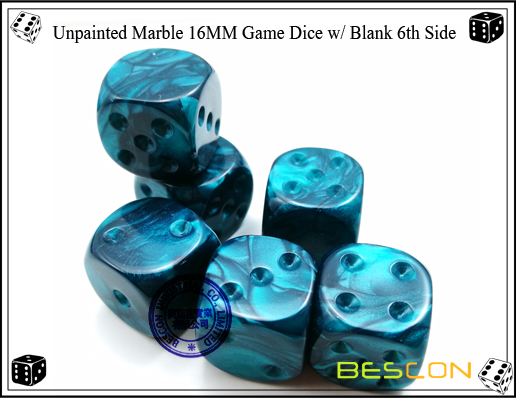 Un-painted Marble Dice 16MM with Blank 6th Side-7