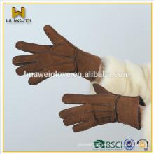 Custom mão costurada shearling shearling luvas de couro de camurça, barato dupla face luvas de couro para as mulheres