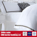 100% algodón 300TC Satén EMB Border Hotel Linens juego de cama