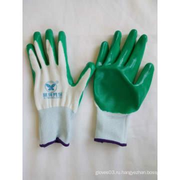 13G полиэфирные оболочки с покрытием из нитрила Защитные перчатки (N6020)