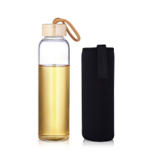 Bamboo lid heat resistant empty glass water bottle with string glass bottle with sleeve