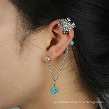 ¡Estilo punky! Brazalete de oído de la rana de cristal individual clip de la oreja de la aleación de la vendimia con la joyería del pendiente de la turquesa para la mujer EC24