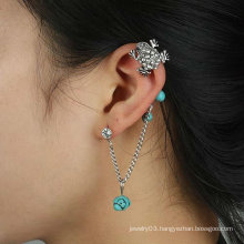 Punk Style! Crystal Frog Ear Cuff Individual Vintage Alloy Ear Clip With Turquoise Earring Jewelry For Woman EC24