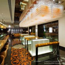 Lustres en cristal d'hôtel de barre de régime d'or de vente chaude