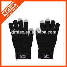 Fashion acrylic winter knitted custom texting gloves