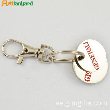 Round Metal Trolley Coin Keychain