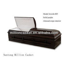 solid poplar cremation casket Jewish style adult