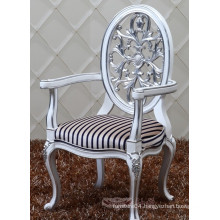 new design oval back baroque solid wood dining chair with arm, upholstered chair