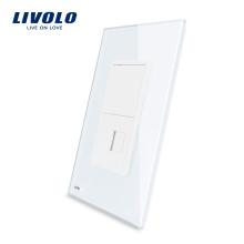 Livolo Prise de téléphone américaine RJ11 avec prise de courant murale en verre de cristal et perle blanche 220V VL-C591T-11