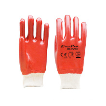 Red Color Anti Oil and Gas Cotton Interlock Knitted Gloves With PVC