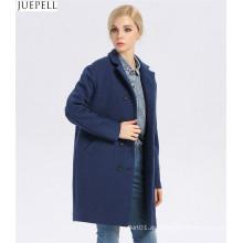 Europäische Marke neue gute Qualität Frauen Wintermantel lange Zweireiher Frauen Windbreaker blauen Wollmantel
