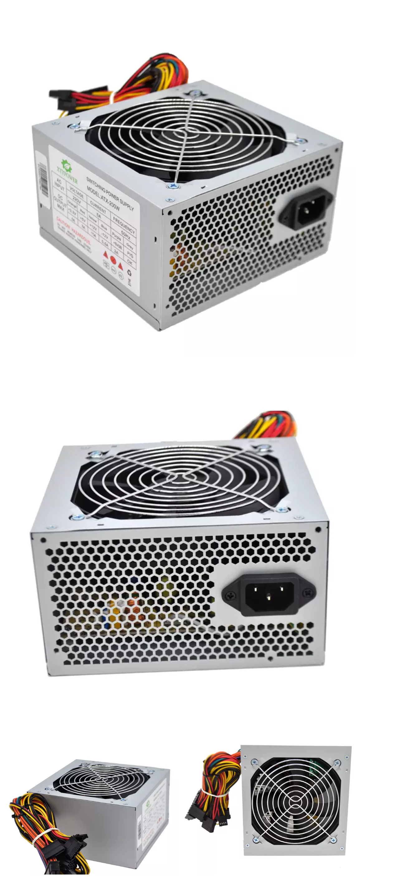 atx pc power supply 200w psu for desktop12cm fan,