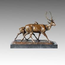 Tier Bronze Skulptur Hirsche Carving Deco Messing Statue Tpal-154