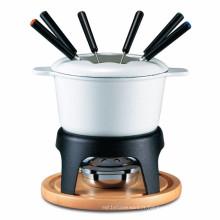 Pot de fondue en émail émaillé en fonte avec plateau en bois